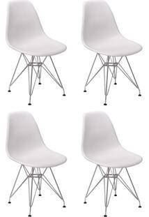 Cadeira E Banco De Jantar Impã©Rio Brazil Charles Eames Eiffel Base Metal - Branco/Incolor - Dafiti