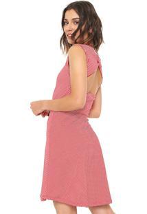 Vestido Fiveblu Curto Laço Vermelho/ Branco