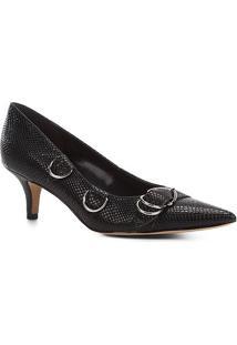 Scarpin Shoestock Salto Baixo Argolas Snake - Feminino-Preto