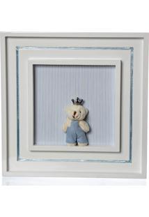 Quadro Príncipe Urso Mini Potinho De Mel Azul