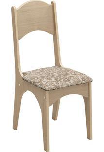 Cadeira Ca18 Veludo Milano Floral Carvalho