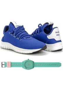 Kit Tênis Têxtil Mesh Elástic + Relógio Urban Style Feminino - Feminino-Azul