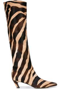 Khaite Bota The Knee-High Com Estampa De Zebra - Marrom