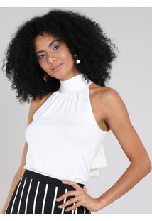 Regata Feminina Halter Neck Gola Alta Com Amarração Off White