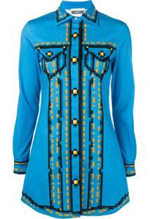 Moschino Camisa Com Estampa - Azul