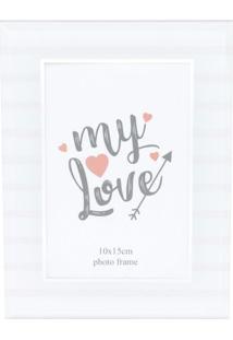 Porta Retrato Love Stripes- Branca- 20,5X15,5X1,5Cm
