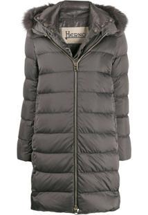 Herno Fur Trimmed Padded Coat - Cinza