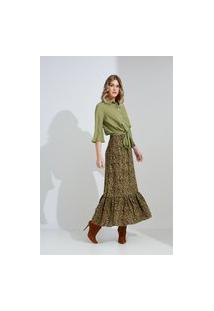 Blusa Crorela Amarração Listrada Verde