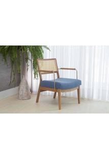 Poltrona Palhinha Moderna Lavanda - Aço Dourado Verniz Amendoa Tec.930 Azul Claro 63,5X64X78 Cm