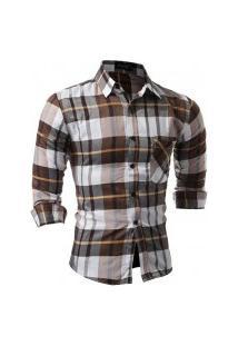 Camisa Masculina Xadrez Manga Longa 7661 - Branca E Marrom