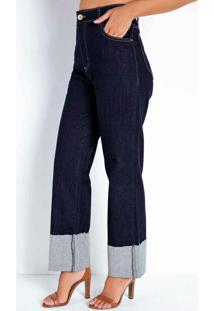 Calça Jeans Escura Reta Com Bolsos Sawary