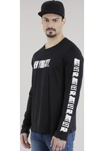 "Camiseta Masculina ""New York City"" Manga Longa Gola Careca Preta"