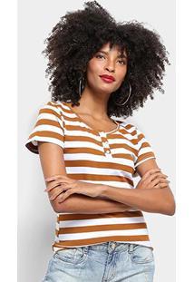Camiseta Top Modas Listrada Botões Feminina - Feminino-Marrom