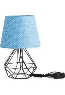 Abajur Diamante Dome Azul/Bolinha Com Aramado Preto - Azul - Dafiti