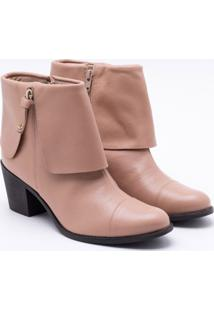 Ankle Boot Comfy Couro Areia