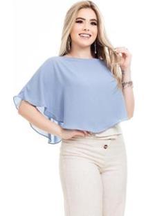 Blusa Clara Arruda Assimetrica Feminina - Feminino-Azul