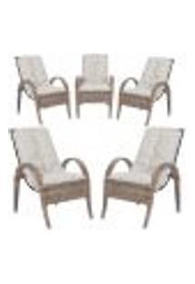 Cadeiras 5Un P/ Jardim Lazer Edicula Varanda Descanso Fibra E Tramas Napoli Plus Argila A12