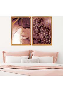 Quadro Love Decor Com Moldura Chanfrada Abstratos Dourado Médio