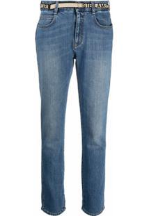 Stella Mccartney Calça Jeans Slim Com Fita De Logo - Azul