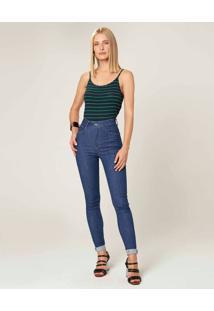 Calça Skinny Flex Jeans Cintura Alta Feminina Malwee Azul Marinho - 34