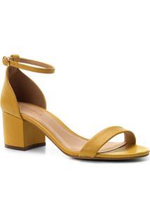 d77d569815 ... Sandália Couro Shoestock Salto Bloco Naked Feminina - Feminino-Mostarda