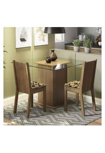 Conjunto Sala De Jantar Madesa Mila Mesa Tampo De Vidro Com 2 Cadeiras Rustic/Bege Marrom
