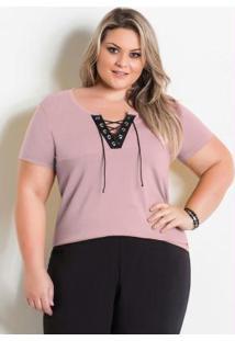 Blusa Rosa Plus Size Com Amarração No Decote