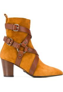 Balmain Ankle Boot Com Fivelas - Marrom