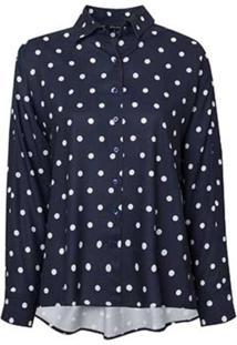 Camisa Dudalina Manga Longa Punhos Pespontos Estampa Poá Feminina (Estampado Estampa Poa, 38)
