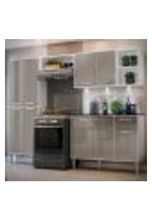 Cozinha Completa Compacta C/ 3 Leds, Armário E Balcão C/ Tampo 4 Pçs Xangai Multimóveis Bca/Lca Fumê