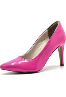 Scarpin Flor Da Pele Bico Fino Verniz Pink