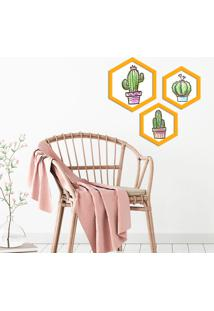Kit 3 Quadros Com Moldura Hexagonal Cactus