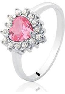 Anel De Prata Coração Zircônia Rosa - Feminino