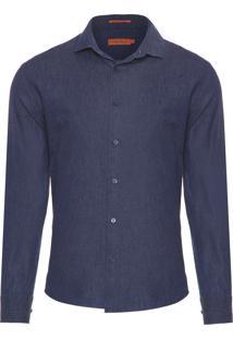 Camisa Masculina Jeans Estampada - Azul