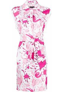 Love Moschino Vestido Com Amarração Na Cintura E Estampa Abstrata - Rosa
