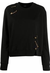 Versace Camiseta Com Detalhe De Alfinete - Preto