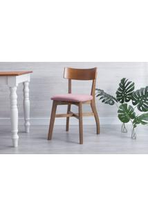 Cadeira Para Sala De Jantar Estofada Bella - Amêndoa E Rosa Tec. A107 - 44X51X82 Cm