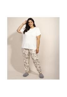 Pijama Feminino Plus Size Com Estampa Paisley Manga Curta Bege Claro