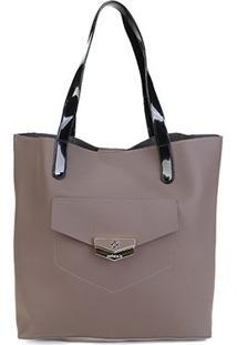 Bolsa Petite Jolie Shopper Donna Bag Rubber Feminina - Feminino-Cinza