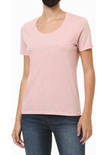 Blusa Feminina Slim Logo Centralizado Rosa Claro Calvin Klein Jeans - Pp