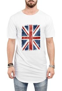 Camiseta Criativa Urbana Long Line Oversized Bandeira Londres - Masculino