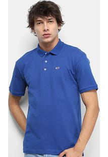 Camisa Polo Tommy Jeans Classic Solid Masculino - Masculino-Azul