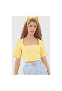 Blusa Cropped Colcci Recortes Amarela