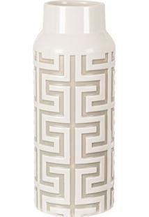 Vaso Geométrico Em Relevo- Off White- 28Xø11Cm- Mart