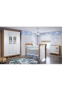 Dormitório Selena Guarda Roupa 4 Portas/Cômoda/Berço Mini Cama Mirelle Amadeirado Carolina Baby - Tricae