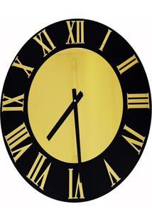 Relógio De Parede Premium Preto Ônix Com Relevo Em Acrílico Espelhado Dourado 50Cm Grande