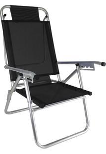 Cadeira Praia Reclinável Zaka Infinita Up Alumínio Até 120 Kg Preta