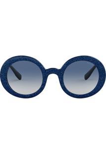 d3234b657 Miu Miu Eyewear Armação De Óculos Redonda Com Brilho 'Divisa' - Azul