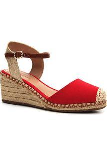 Sandália Anabela Shoestock Corda Lona Feminina - Feminino-Vermelho