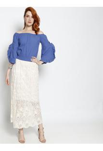 Blusa Ciganinha Com Franzidos- Azul Escuro- Le Fixle Fix